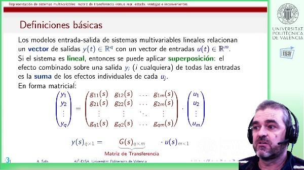 Sistemas multivariables: ventajas e inconvenientes de matriz de transferencia versus representación en variables de estado