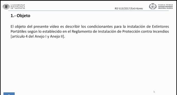 Reglamento de Instalaciones de Protección Contra Incendios (RIPCI). Extintores
