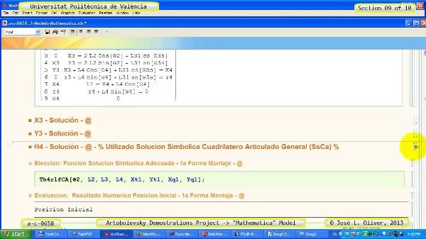 Solución Cinemática Simbólica a_c_0658 con Mathematica -A- 09 de 10