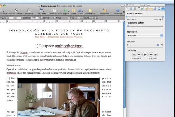 Configurar vídeos en un documento académico con Pages (iWork) 2