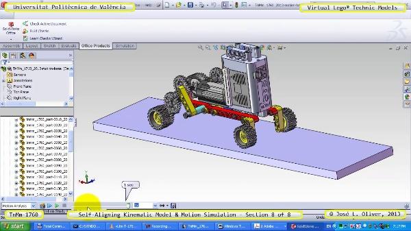 Simulación Dinámica Lego Technic T-1760 sobre Base ¿B- 8 de 8