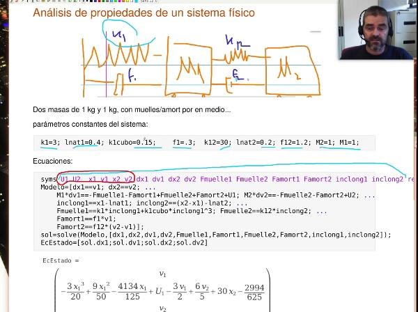 Modelado y linealización de un sistema no lineal de dos masas y dos muelles (Matlab)