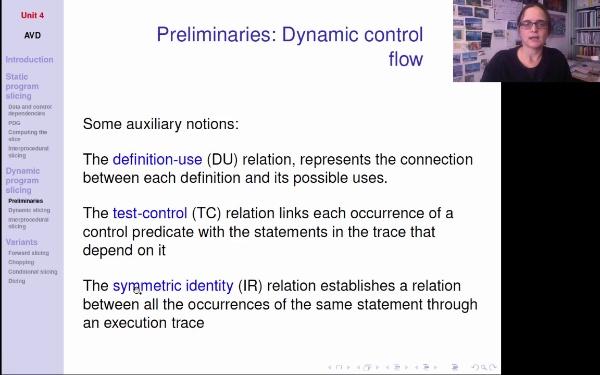 AVD - T4 - Dynamic slicing - preliminaries