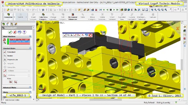 Creación Virtual Modelo Lego Technic 8862-1 ¿ Pieza 1 ¿ 34 de 44
