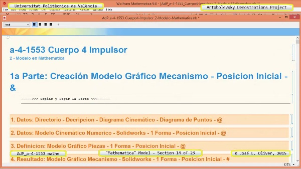 Solución Cinemática Simbólica a-4-1553 con Mathematica - 14 de 23 - Modelo Mathematica ¿ Revisión