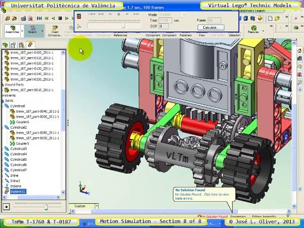 Simulación Dinámica Lego Technic T-0187 sobre Base -D- 8 de 8