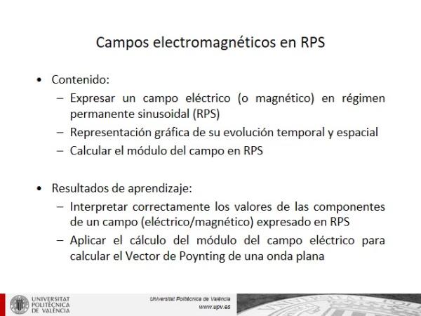 Campos electromagnéticos en Régimen Permanente Sinusoidal