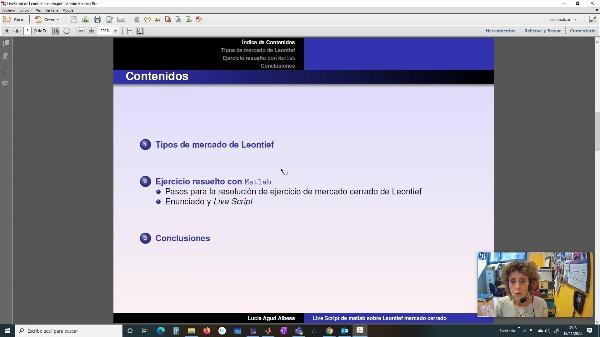 Modelo de mercado cerrado de Leontief mediante un Live Script de Matlab