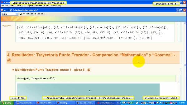 Solución Cinemática Simbólica a_z_1190 con Mathematica - 4 de 5