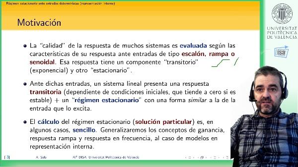 Régimen estacionario de sistemas lineales (representación interna en variables de estado): constante/rampa/senoidal