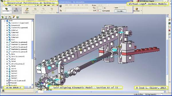 Simulación Cinemática Lego Technic 8064-2 con Cosmos Motion ¿ 07 de 11 - no audio