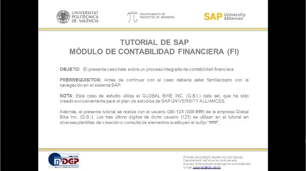 Tutorial de SAP: Contabilidad Financiera (FI)  (Caso de Estudio SAP UA)