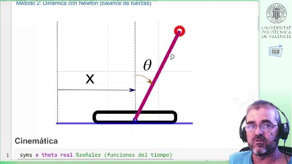 Ejemplo modelado de sistema carrito-bola (1): cinemática y balances de fuerzas