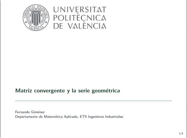 Matriz convergente y serie geométrica