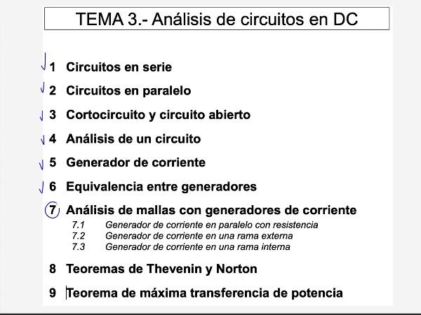 Teoría de Circuitos: 3.7.3.- Mallas con generador de corriente en rama interna