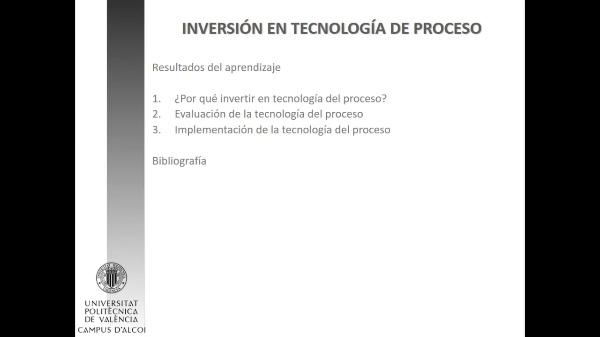 Inversión en tecnología de proceso