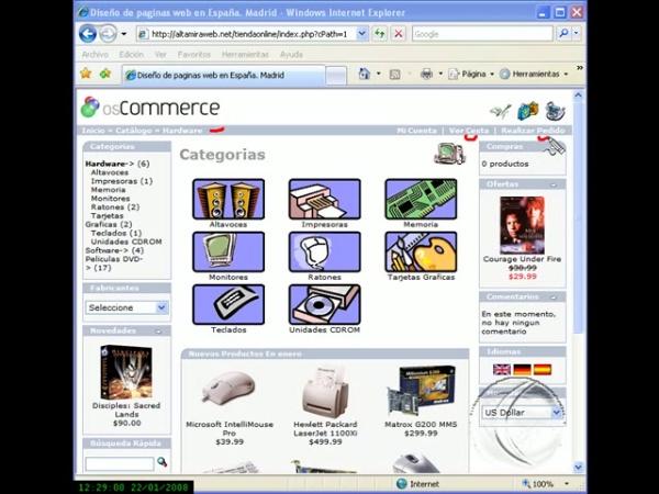 Aplicación de comercio electrónico OSCommerce