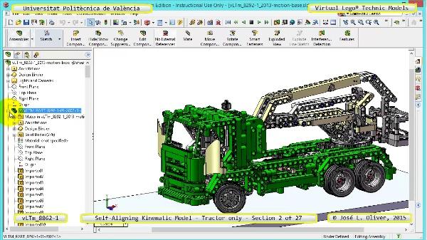 Simulación Dinámica Lego Technic 8862-1 - Tractor - sobre Base - 02 de 27