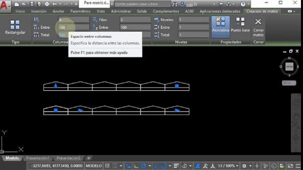 AutoCAD - Edición- Matriz rectangular
