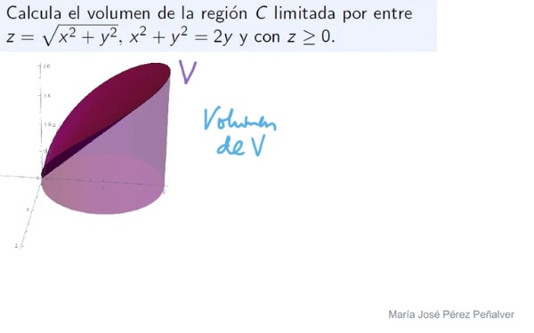 Ejercicio de volumen por integración triple con cambio a coordenadas cilíndricas