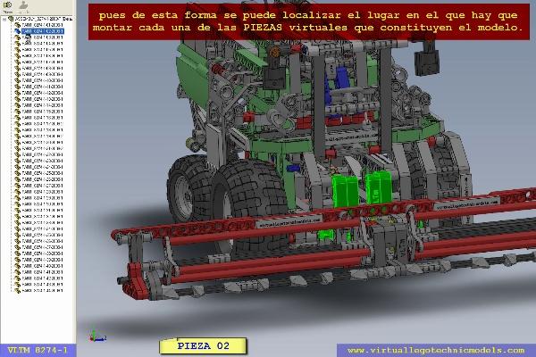 MODELO LEGO TECHNIC VIRTUAL 8274-1. LOCALIZACION PIEZAS. SECCION 1 DE 2