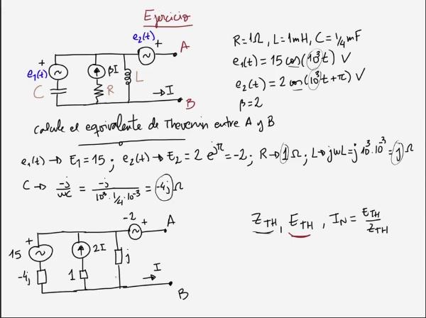 Teoría de Circuitos 1. Lección 6. 6-2 Ejemplo equivalentes de Thevenin y Norton en alterna
