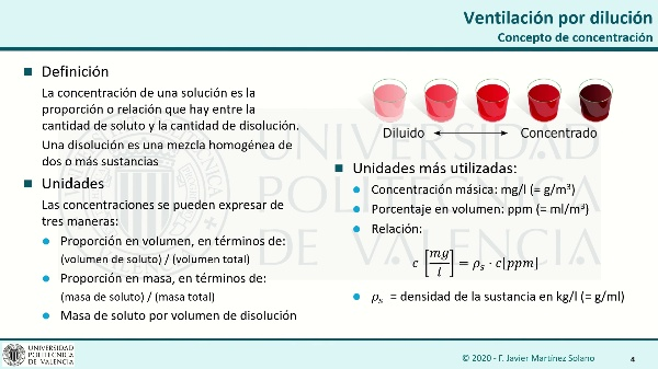 Ventilación por dilución. 1. Régimen estacionario