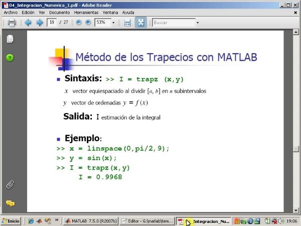 Tema 4. Integración numérica. Algoritmo de los trapecios e instrucción 'trapiter'.