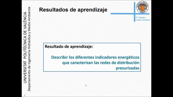 Indicadores energéticos en las redes de distribución a presión