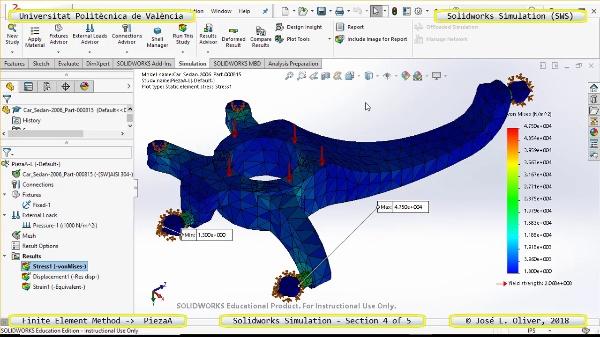 Análisis Estático Pieza Automóvil con Solidworks Simulation v17 - 4 de 5