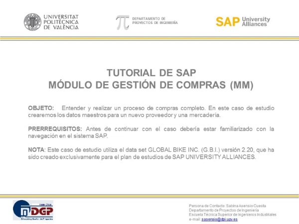 Tutorial de SAP (G.B.I. 2.20): Gestión de Materiales y Compras (MM)