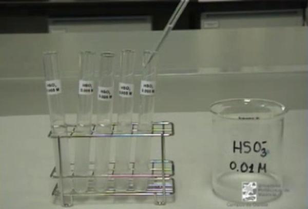 Cinètica d'una reacció química: reacción entre el bisulfit i el iodat