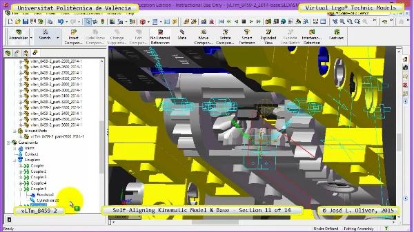 Simulación Dinámica Lego Technic 8459-2 sobre Base ¿ 11 de 14