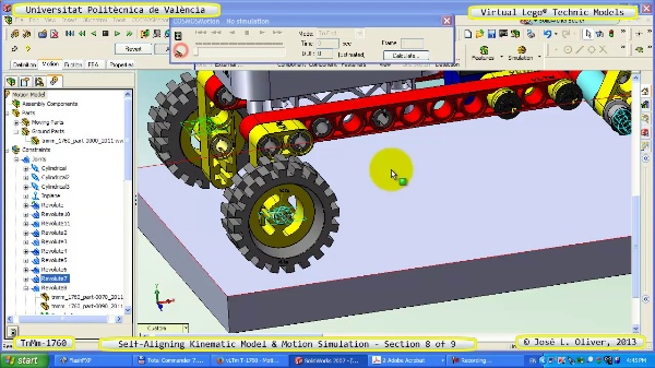 Simulación Dinámica Lego Technic T-1760 sobre Base ¿A- 8 de 9