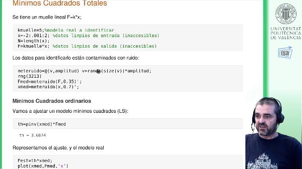 Mínimos cuadrados totales TLS: ejemplo Matlab