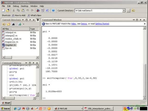 Tema 5. Interpolación polinómica. Uso de variables globales (y 2)
