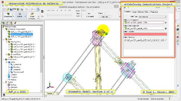 Simulación Mecanismo a-z-1111 con Cosmos Motion - 2 de 3