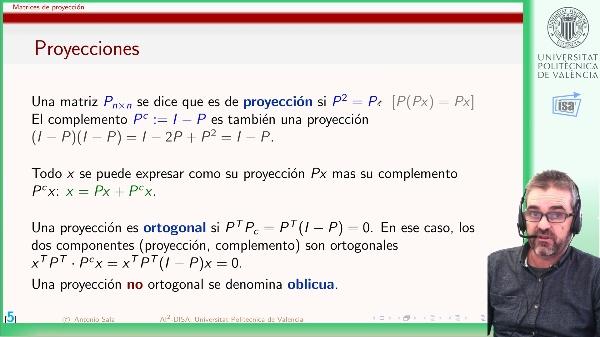 Matrices de proyección