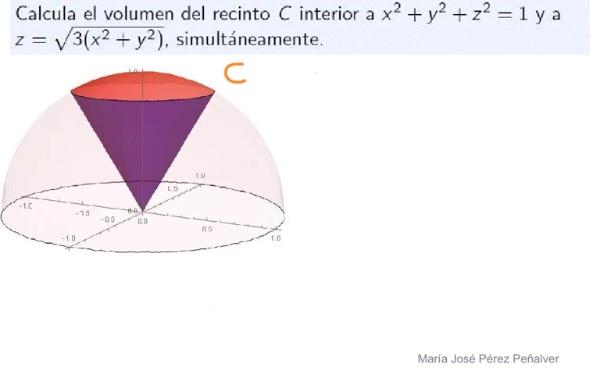 Ejercicio de cálculo de volumen por integración triple con cambio a coordenadas esféricas