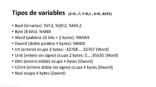 Tipos de variables en TIA Portal V15 1