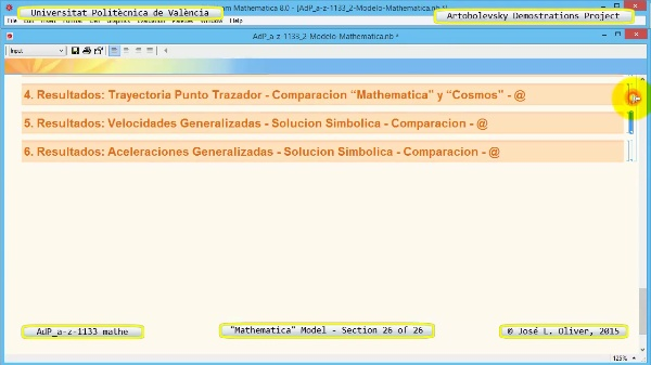 Solución Cinemática Simbólica a-z-1133 con Mathematica - 26 de 26