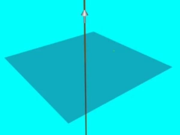 AmpereHD_2: Circunferencia sobre la que se calculara la circulación del campo magnético al aplicar el teorema de Ampere a un hilo conductor rectilíneo por el que circula una corriente eléctrica