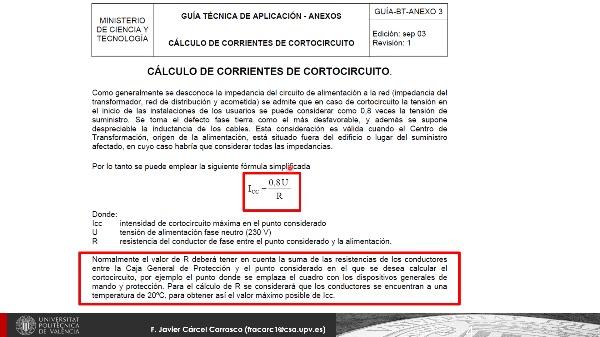 Conceptos de cálculo Intensidad cortocircuito en Baja Tensión (B.T.)