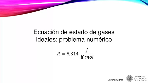 MOOC Primeros pasos termodinámica. Resolución problema ecuación estado gases ideales