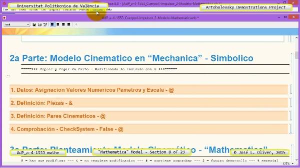 Solución Cinemática Simbólica a-4-1553 con Mathematica - 08 de 23 - Modelo Mathematica