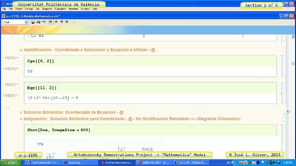 Solución Cinemática Simbólica a_z_1196 con Mathematica - 2 de 5