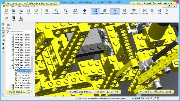Creación Virtual Modelo Lego Technic 8862-1 ¿ Montaje Modelo ¿ 22 de 44
