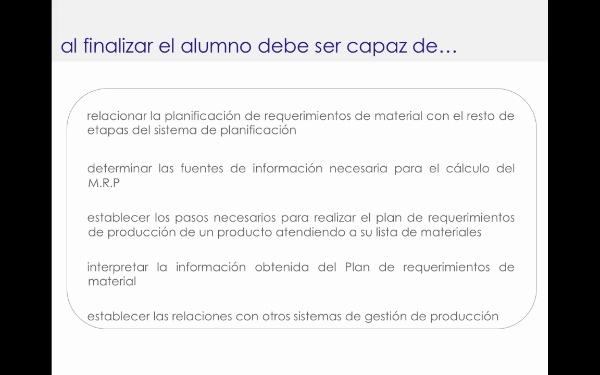 Planificación de requerimientos de material: conceptos básicos