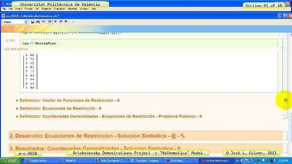 Solución Cinemática Simbólica a_c_0658 con Mathematica -A- 01 de 10
