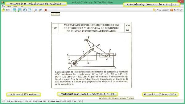 Solución Cinemática Simbólica a-4-1553 con Mathematica - 01 de 23 - Modelo Mathematica